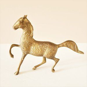 Vintage etched brass horse figurine/statuette.